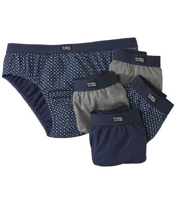 Pack of 5 Men's Plain & Patterned Briefs Navy Grey