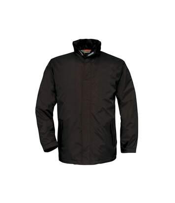 B&C Mens Ocean Shore Waterproof Hooded Fleece Lined Jacket (Black) - UTRW3518