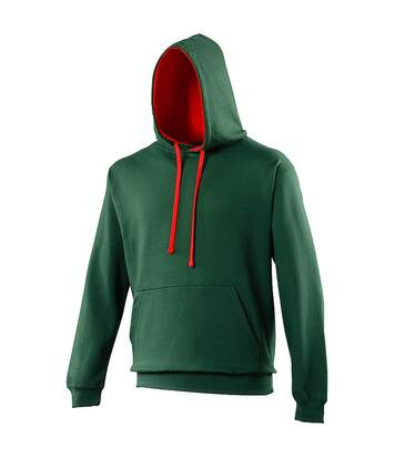 Awdis Varsity Hooded Sweatshirt / Hoodie (Sapphire Blue/ Lime Green) - UTRW165