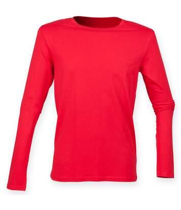 Skinnifit Mens Feel Good Long Sleeved Stretch T-Shirt (Bright Red) - UTRW4736