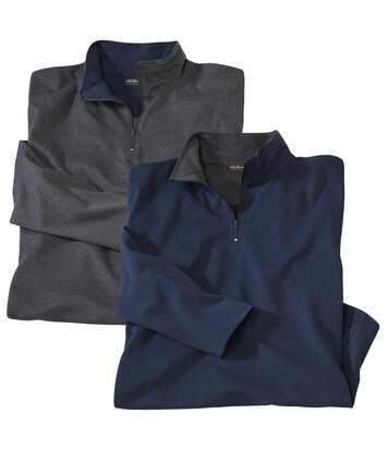 Pack of 2 Men's Zip-Neck Jumpers - Blue Grey - North Expedition