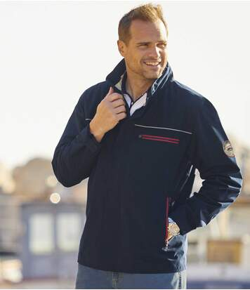 Men's Full Zip Microfibre Jacket - Water-Repellent - Navy