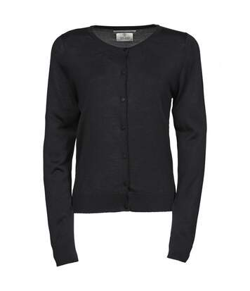 Pull boutonné cardigan laine col rond - FEMME - 6005 - noir
