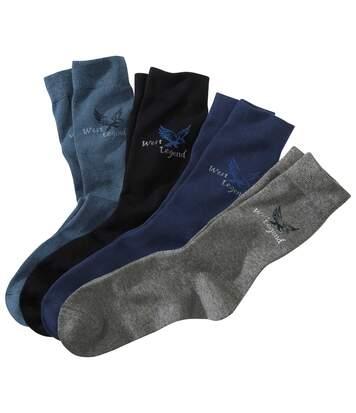 Pack of 4 Pairs of Men's Socks - Navy Blue Grey Black