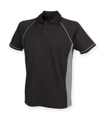 Finden & Hales Mens Piped Performance Sports Polo Shirt (Black/Gunmetal Grey) - UTRW427