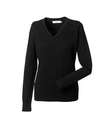 Russell Collection Ladies/Womens V-Neck Knitted Pullover Sweatshirt (Black) - UTBC1011