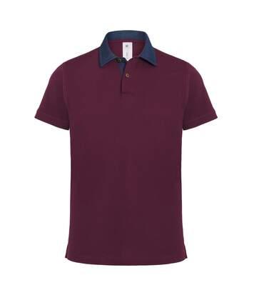 B&C Denim Mens Forward Short Sleeve Polo Shirt (Denim/ Burgundy) - UTRW3053