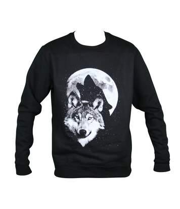 Sweat-shirt motif loups - 19955 - homme - noir