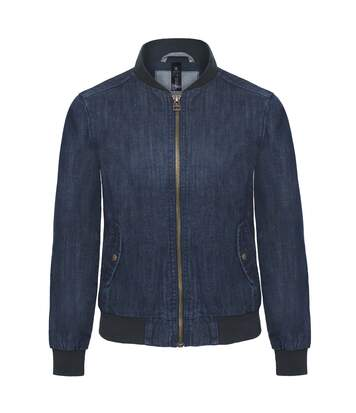 B&C Denim Womens/Ladies Supremacy Denim Bomber Jacket (Deep Blue Denim) - UTRW3049