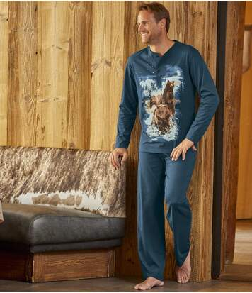 Men's Indigo Blue Polar  Bear Pyjama Set