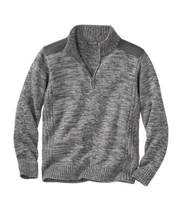 Szürke, cipzáras nyakú, kötött pulóver