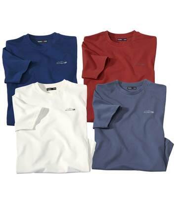 Pack of 4 Men's Classic T-Shirts - Terracotta Navy Ecru Indigo