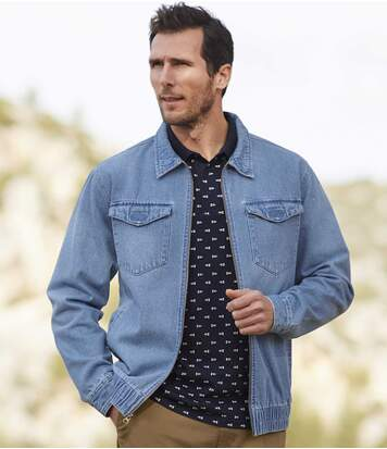 Men's Full Zip Blue Denim Jacket