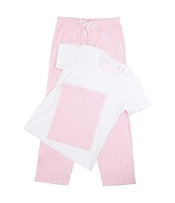 Towel City Womens/Ladies Pyjama T-Shirt And Bottoms Set (White/Pink/White Stripe) - UTRW5461