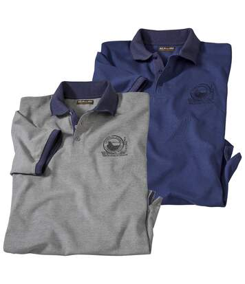 Pack of 2 Men's Piqué Knit Polo Shirts with Short Sleeves