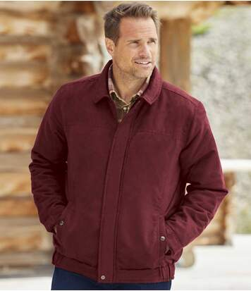 Men's Burgundy Faux-Suede Jacket - Water-Repellent -Full Zip