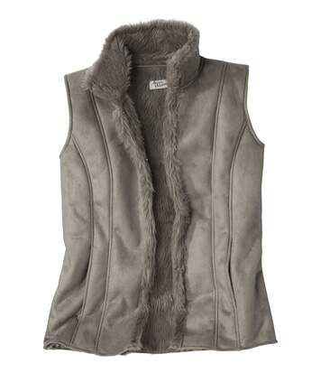 Women's Faux Suede And Faux Fur Gilet
