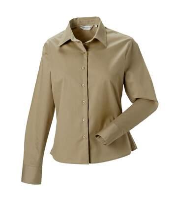Russell Collection Womens/Ladies Long Sleeve Classic Twill Shirt (Khaki) - UTRW3255