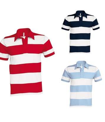 Lot 3 polos homme rugby - manches courtes - bleu marine, bleu clair et rouge rayé blanc
