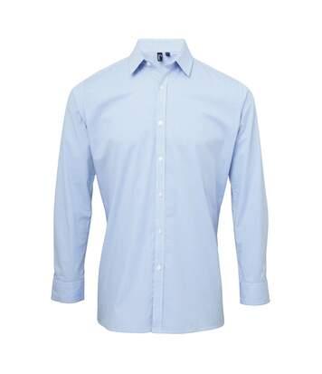 Chemise à carreaux manches longues - Homme - PR220 - bleu clair