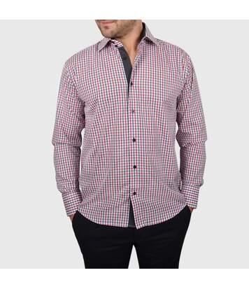 Chemise homme à carreaux rouges et gris intérieur anthracite - Chemise NON CINTRÉE