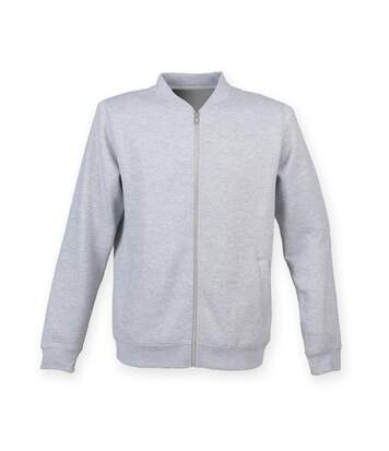 Skinnifit Mens Full Zip Plain Bomber Jacket (Heather Grey) - UTRW4746