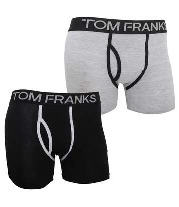 Mens Keyhole Boxer Trunks/Shorts (Pack Of 2) (Black/Grey) - UTMU154