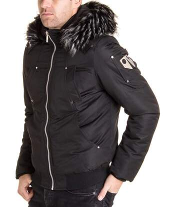 Blouson homme stylé à capuche amovible fausse fourrure noir