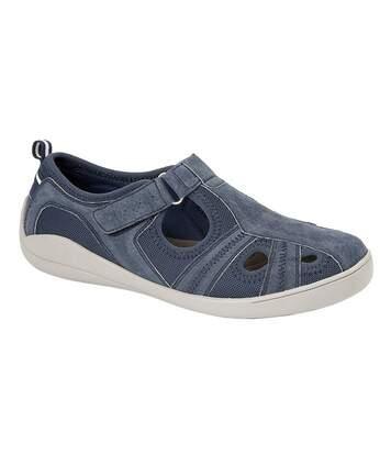 Boulevard Womens/Ladies Leather/Textile Casual Shoe (Navy) - UTDF1604