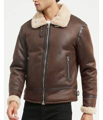 Veste aviateur marron camel simili cuir vintage fourrure moutonnée type sherpa