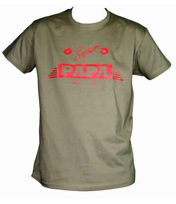 T-shirt homme manches courtes - Super papa - vert kaki