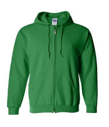 Gildan Heavy Blend Unisex Adult Full Zip Hooded Sweatshirt Top (Irish Green) - UTBC471