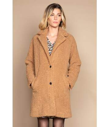 Manteau oversize à bouclettes MILDA Camel