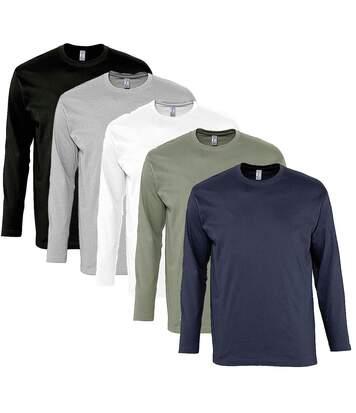 lot 5 T-shirts manches longues HOMME - noir gris blanc kaki navy