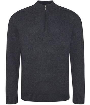Pull col zippé homme - EA061 - gris foncé