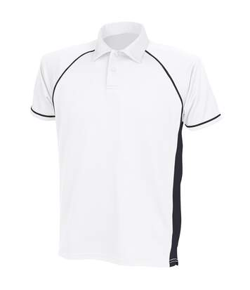 Finden & Hales Mens Piped Performance Sports Polo Shirt (White/Black/Black) - UTRW427