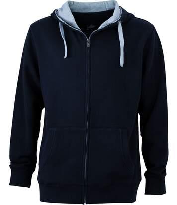 Sweat zippé à capuche homme - JN963 - noir