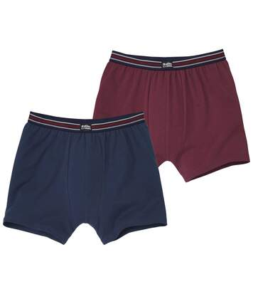 Pack of 2 Men's Stretch Boxer Shorts - Burgundy Navy