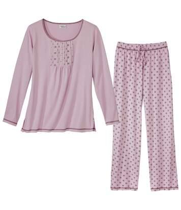 Women's Pink Patterned Pyjama Set