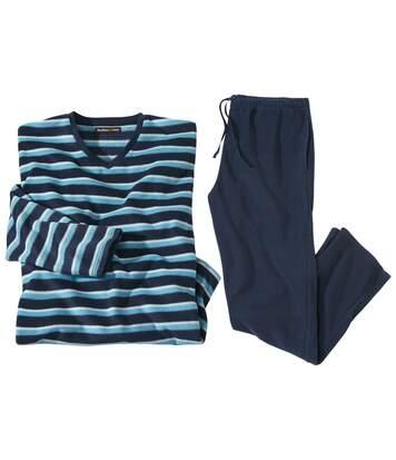 Blauwe microfleece pyjama met strepen