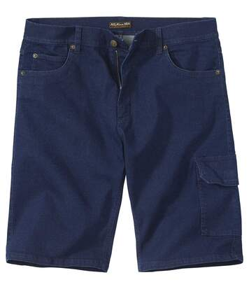 Men's Dark Blue Stretch Denim Shorts