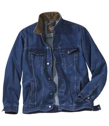 Džínsová bunda smenčestrovým golierom