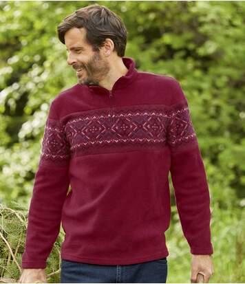 Men's Burgundy Fleece Jumper - Patterned