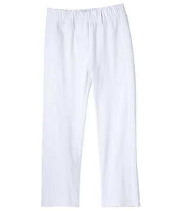 3/4 bílé strečové kalhoty