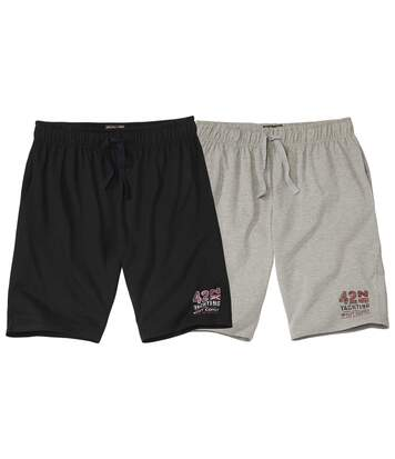 Pack of 2 Men's Sporty Jersey Shorts - Black Grey