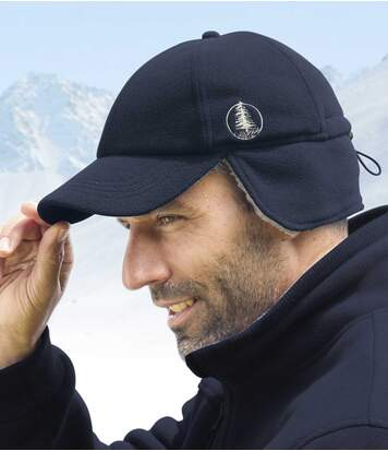 Men's Navy Fleece and Sherpa Cap - Ear Flap
