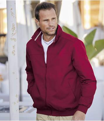 Men's Burgundy Twill Jacket - Water-Repellent - Full Zip