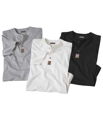 Pack of 3 Men's Button Neck T-Shirts - Grey White Black
