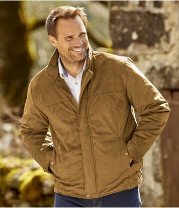 Men's Quilted Faux-Suede Jacket - Full Zip