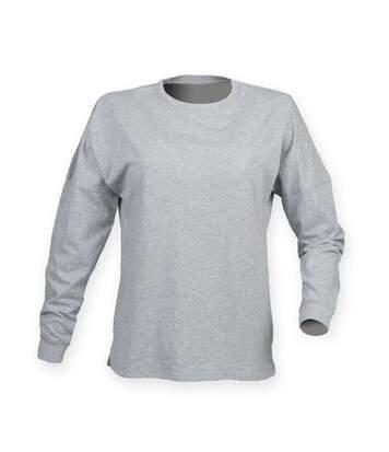 Skinnifit Mens Drop Shoulder Slogan Top (Heather Grey) - UTRW4747